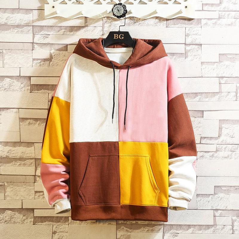 Vestuário 2020 Outono e mais grossa de veludo contraste de costura colorida soltas Casual New Men Inverno Suéter