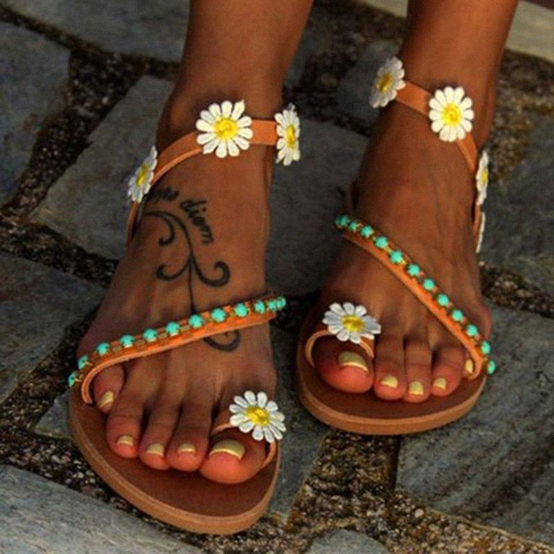 Plaj Yaz 42la # On Kadınlar Sandalet 2019 Yeni Yaz Ayakkabı Kadın Çiçek Düz Sandalet Artı boyutu Gladyatör Sandalias Mujer Kayma