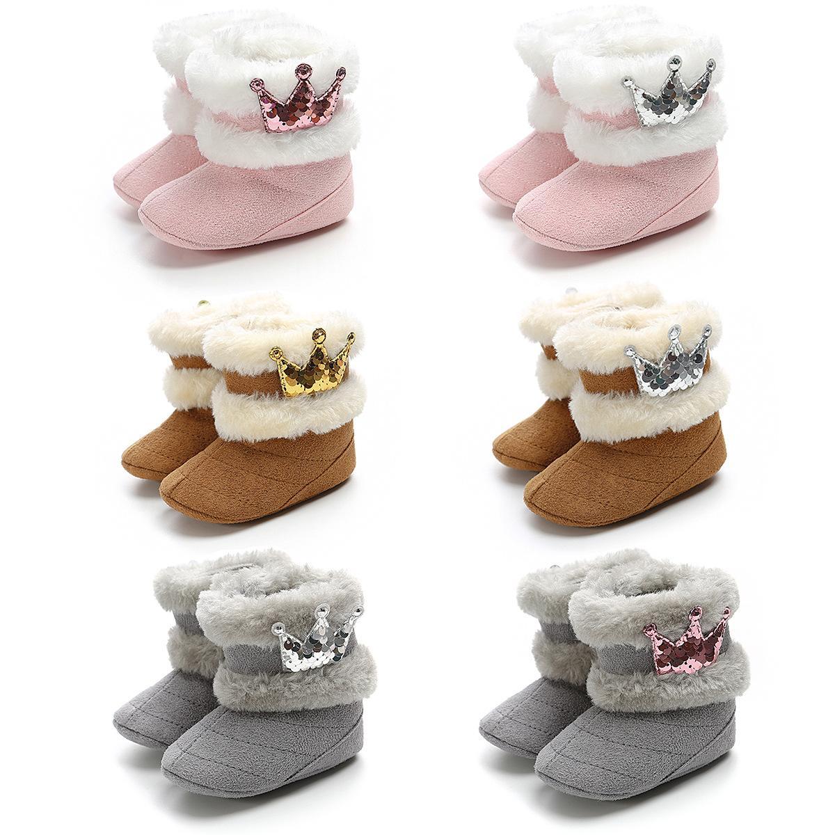 Moda Yenidoğan Bebek Kız Kış Casual Boots Taç Kürk Orta Buzağı Uzun Kaygan Kürklü Bebek Ayakkabı ısıtın 0-18M