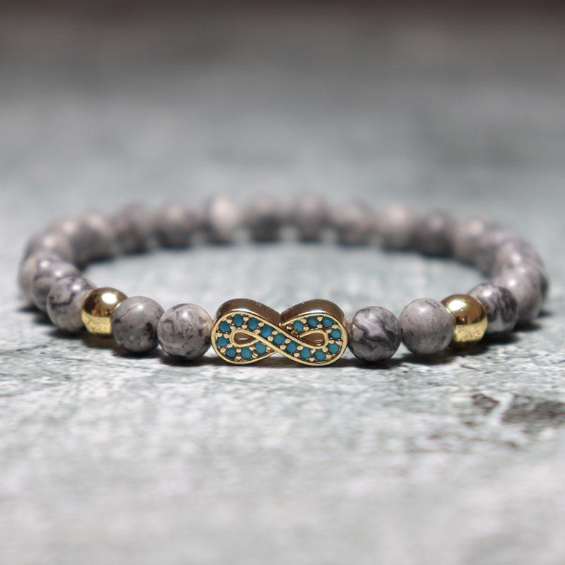 Perles Antique Pierre naturelle Bracelet Infinity luxe zircons main Braclet pour les hommes Bijoux Armband bileklik