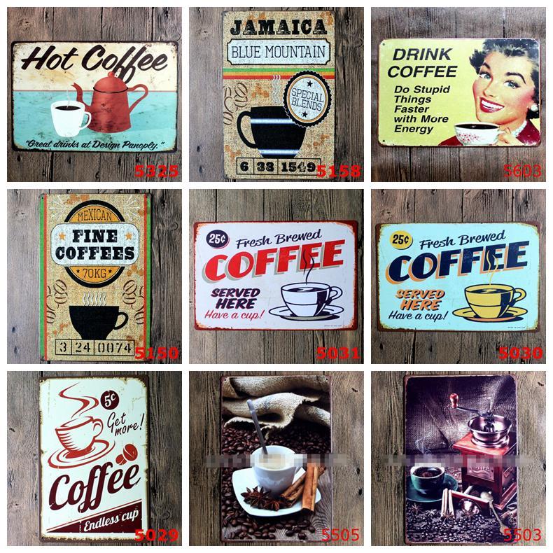 Mutfak Coffee Bar Cafe Retro Metal Posterler Demir Boyama HHB1616 için kahve Metal Giriş Vintage Metal Tabela Plak Metal Vintage Duvar Dekor