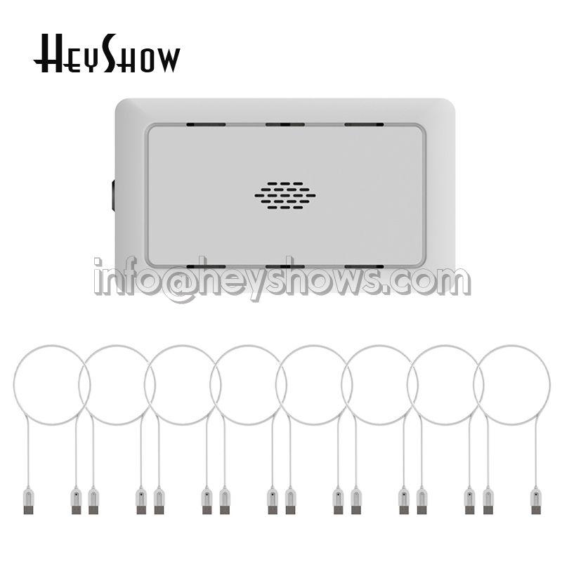 8 puertos USB del ordenador portátil Sistema Dual cable de seguridad Alarma antirrobo PC Box Ordenador portátil de visualización sea segura para al por menor Tienda