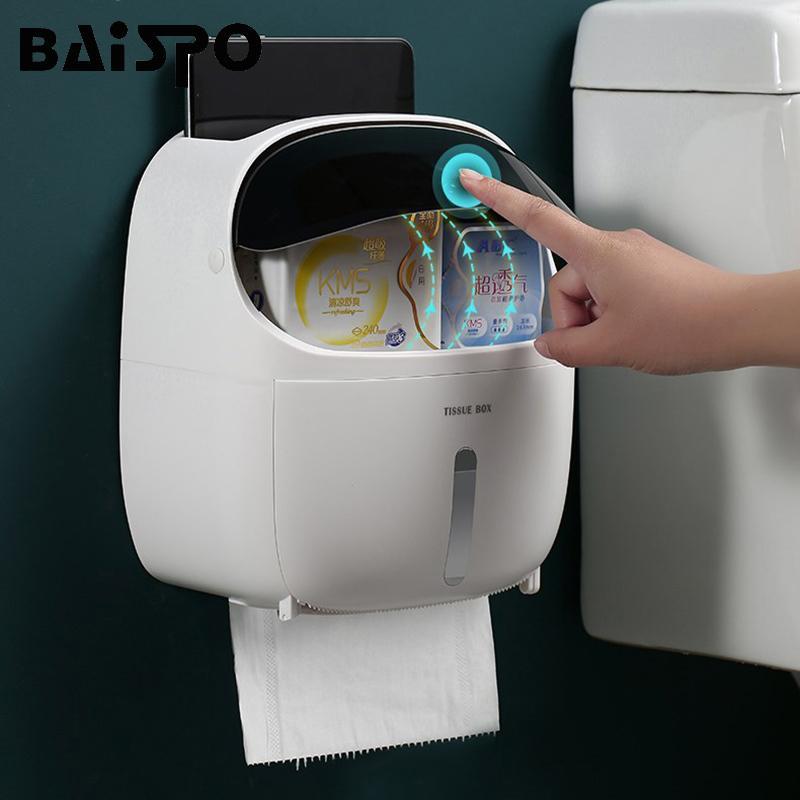BAISPO impermeabile supporto di carta igienica Mensola Per rotolo di carta igienica portatile Dispenser Storage Box Tray Casa Accessori Bagno