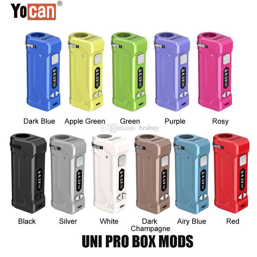 I più nuovi 11 colori 100% originale Yocan UNI Pro Box Mod 650mAh della batteria di preriscaldamento VV Vape Mods con cartuccia magnetica 510 Adattatore Genuine