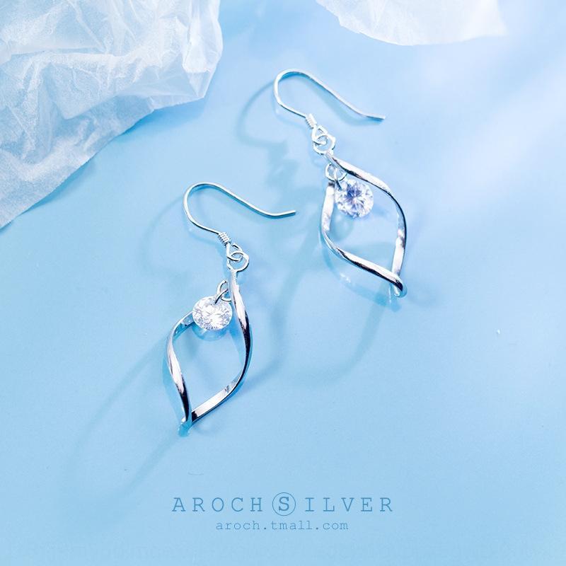 VchWJ S925 gümüş kadın Kore tarzı yenilikçi tek Elmas Küpe elmas küpe Wave'in küpe zarif çizgiler tatlı kulak aksesuarları E04