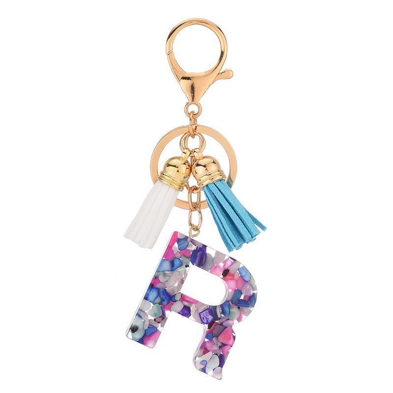 Netter Brief Auto-Schlüsselring-Halter-Mode Leder Tassel Schlüsselanhänger für Frauen-Männer 26 Anfängliche English Word-Anhänger Acryl Schlüsselanhänger Accessoires