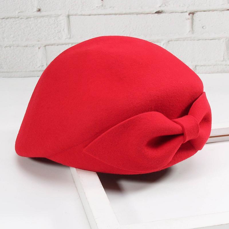 Senhora elegante Sólidos Retro Cor Beanie Moda Vintage elegante bowknot boina de lã Hat Outono-Inverno Quente Beret vermelho / preto / Camel
