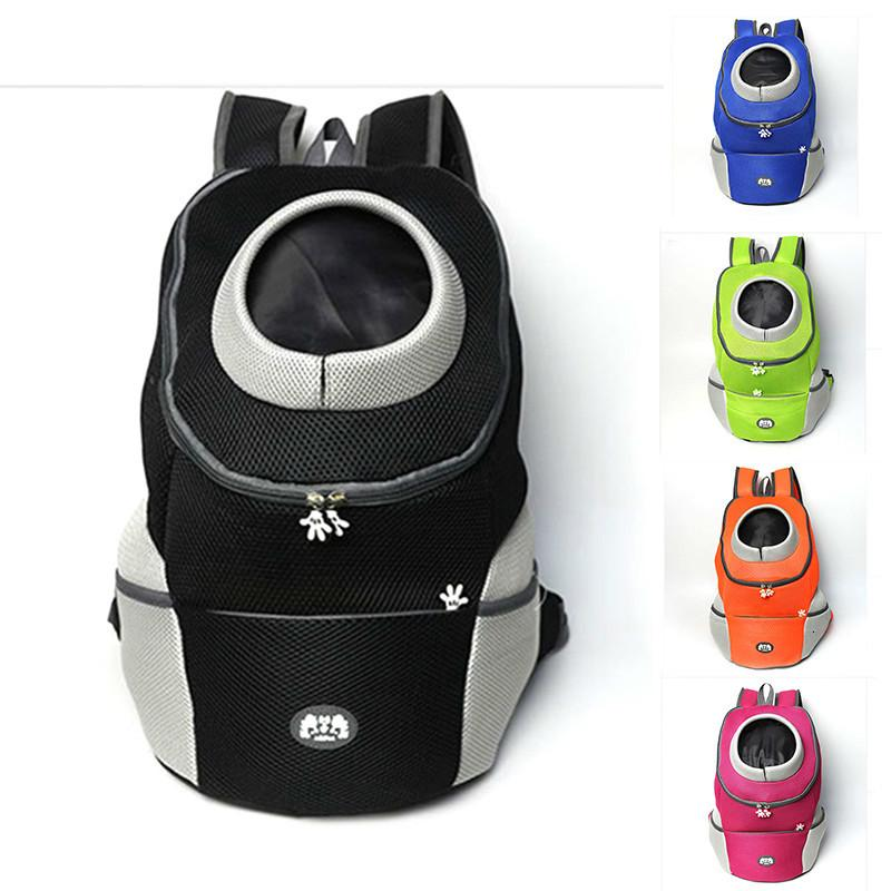 Filhote de cachorro Outdoor Cat Pet Frente Dog Backpack portador Travel Bag Bleathable Mesh Pet Duplo Ombro Mochila de transporte ombro pacote