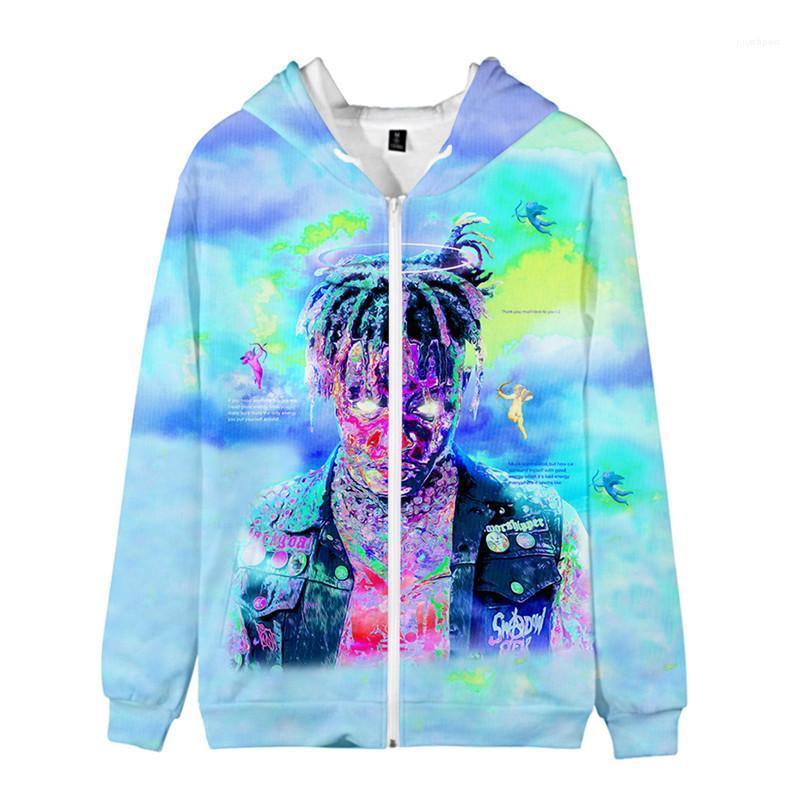Juice Wrld Mens Zipper Hoodies Designer Hiphop 3D Printed Sweatshirts Art und Weise plus Größe männlichen Mantel Rapper