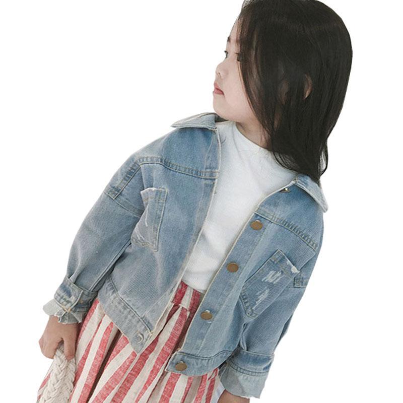 otoñales niños hijos de ropa denim chaquetas de la capa impresos historieta muchachas de los bebés de la chaqueta informal cortos Outwear las muchachas del niño