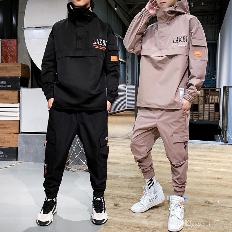 2020 Куртка для рабочей одежды Мужская куртка с капюшоном + брюки 2шт наборы бейсбол свободно пуловерное пальто длинные брюки мужская одежда