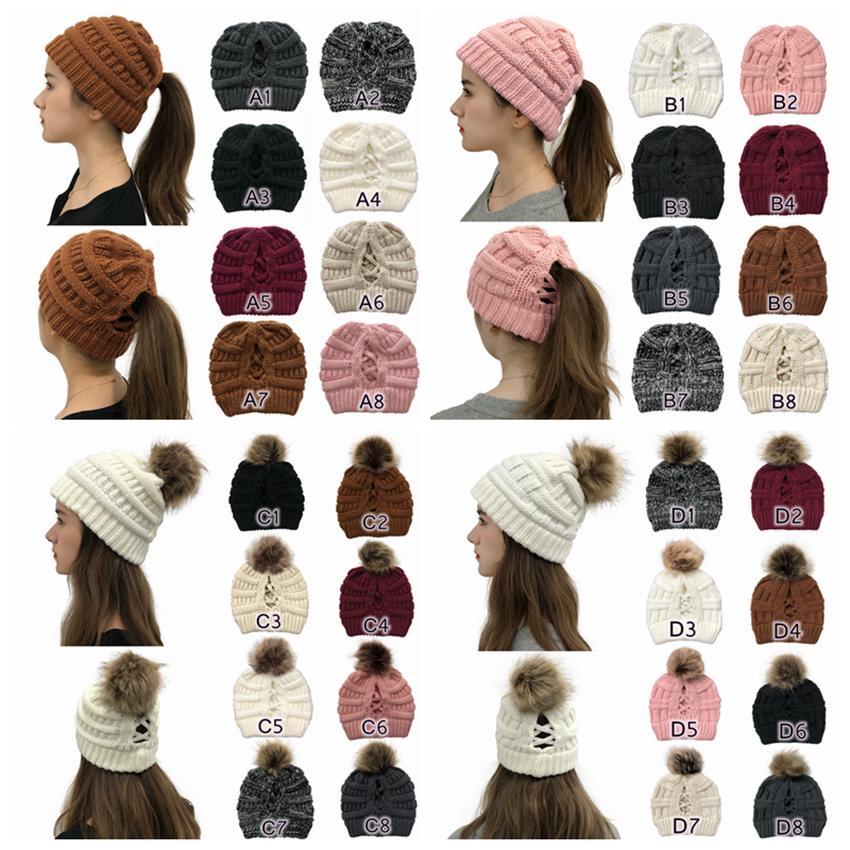 Pom Criss çapraz at kuyruğu Beanie 32 Stiller Kış Sıcak Yün Örgü Şapka Kadınlar Çapraz at kuyruğu Beanie Şenlikli Parti Şapkası CYZ2800