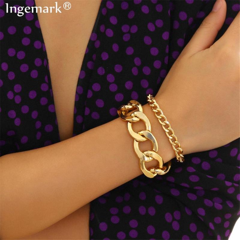 Ingemark 2 шт / Set Snake блокировки цепи браслеты браслеты браслет Femme Accesory Mujer Punk Толстая цепь браслет Пара ювелирных изделий 2020