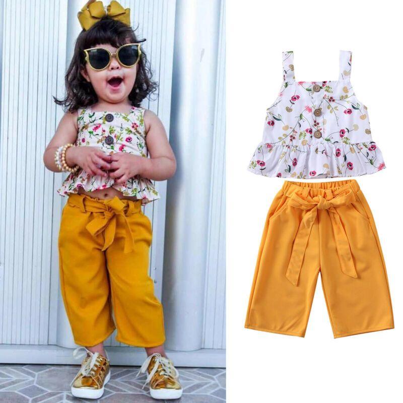 Baby Girl 2pcs Set Fashion Newborn Baby Girls Floral Chaleco Sin mangas Tops Largos Pantalones Trajes de verano 0-24 meses