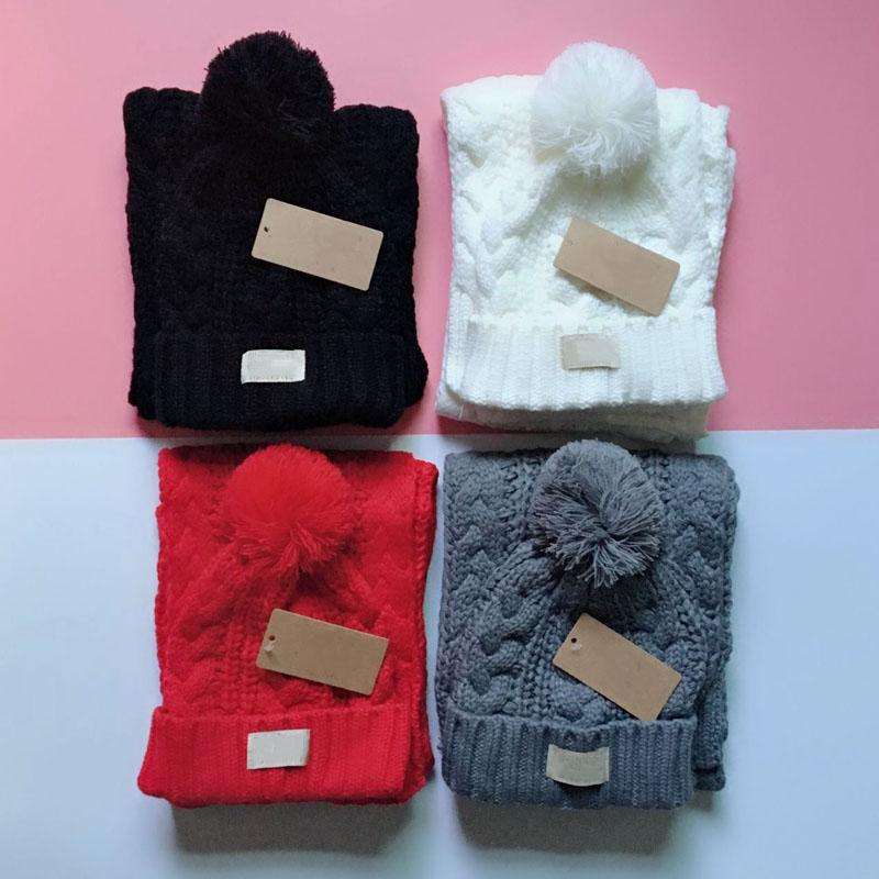 NEW Winter Knitted Caps And Scarves Set Inner Fine Hair Warm And Soft Crochet Beanies 5 Colors Wholesale