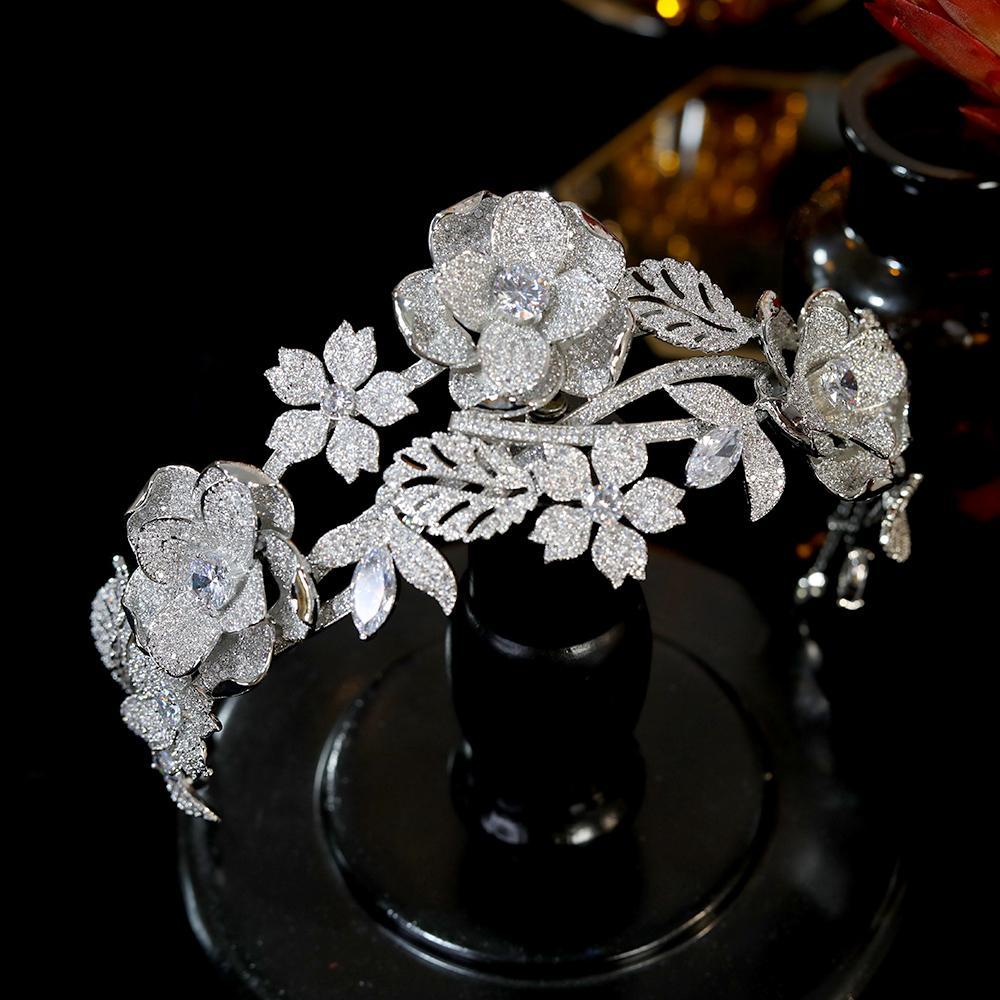 Dubai Luxury Wedding Аксессуары для волос Трехмерного цветка ободки для невесты, свадебная Crown стяжка диадемы и короны
