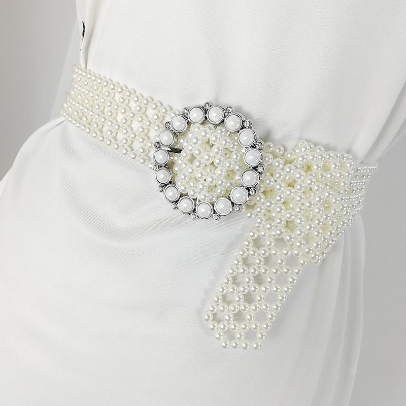 Pearl belt ladies waist belts for women 2020 white stass cinturon mujer long waistband dress cummerbunds jeans riem designer