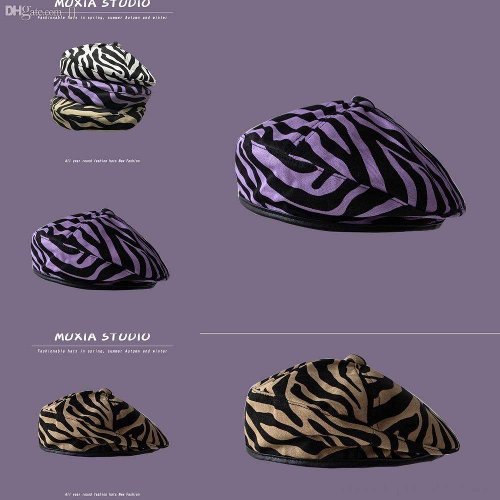 6nSIb A zebra novo chapéu de lã preta Branco cap cap marrom e fita boina Joker chapéus para homens e mulheres casal Sir metais