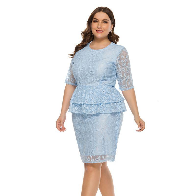 Плюс Размер коротким рукавом 2020 Внешнеторговые Женская повелительницы рыхлой Женское Сексуальный полный шнурок платье Xa27f
