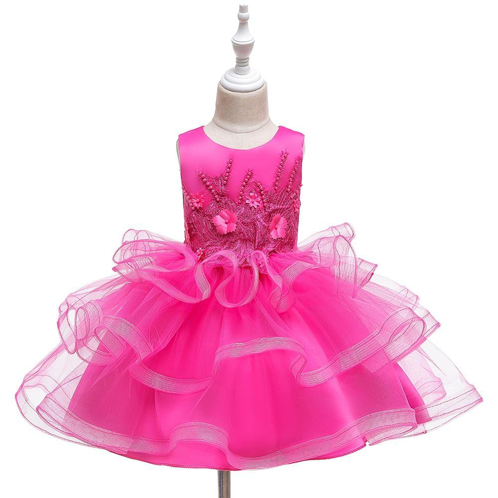 2020 Elegant Girls Dress Kids Princess Birthday Applique Prom Designs Ball Gown Teens Vestidos Children Dresses For Girl Clothes