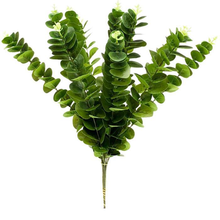 INS real de alta calidad táctil falso verde hojas de eucalipto Hojas artificiales Flor de eucalipto Garland tropical Plantas decoración de la boda