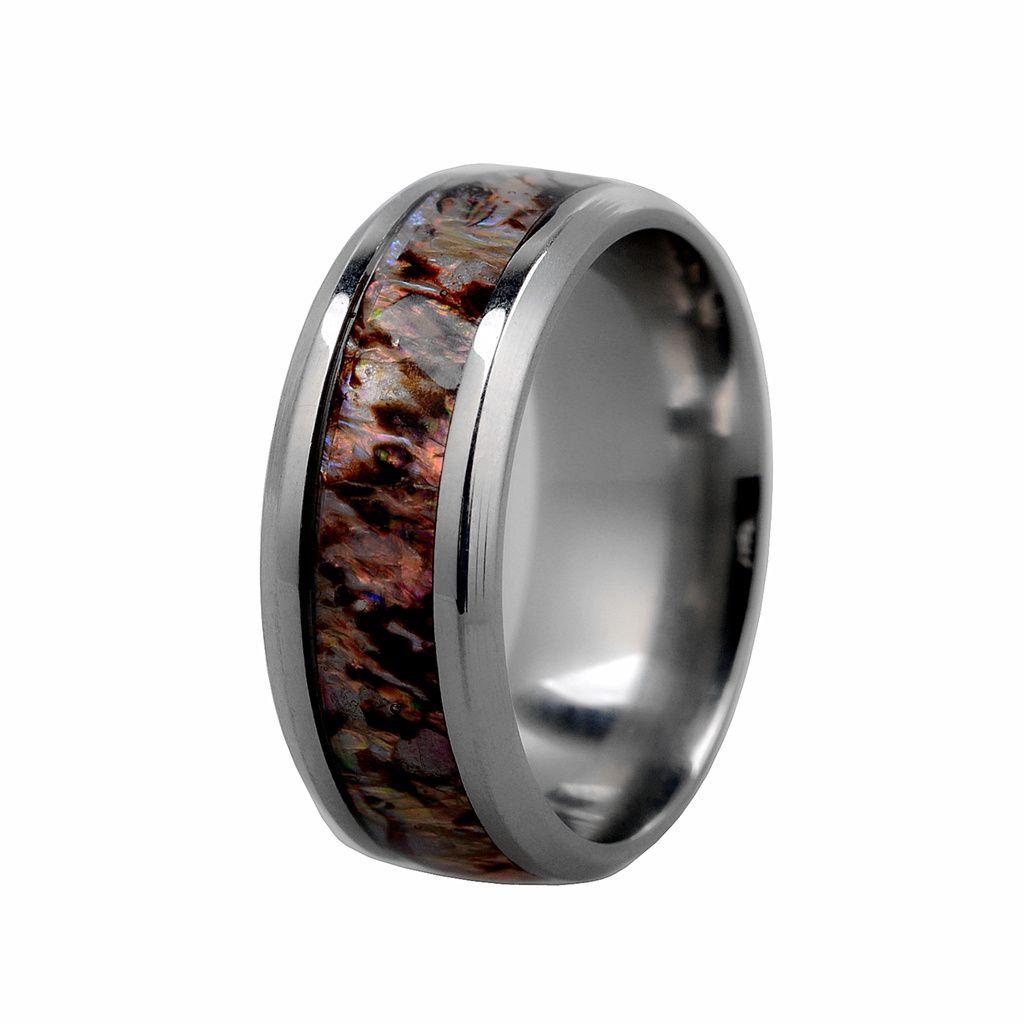 Мужчины \ 's Ring Abalone Shell Inlay Высокий полированная нержавеющая сталь Кольцо с отполированным скошенным краем 8мм для свадебных us7-US11