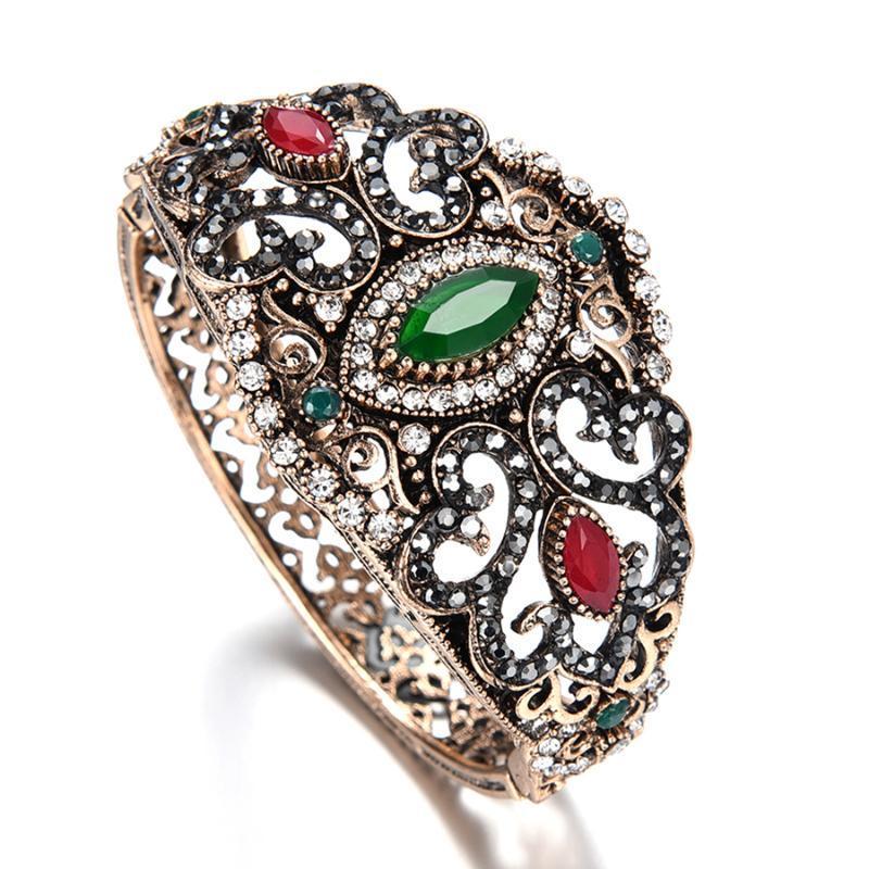 Kadınlar Kristaller Bilezikleri'nin Türk Takı Geniş Büyük Boy Yeşil Kırmızı Reçine Bilezik Antik Altın renkli Vintage Retro