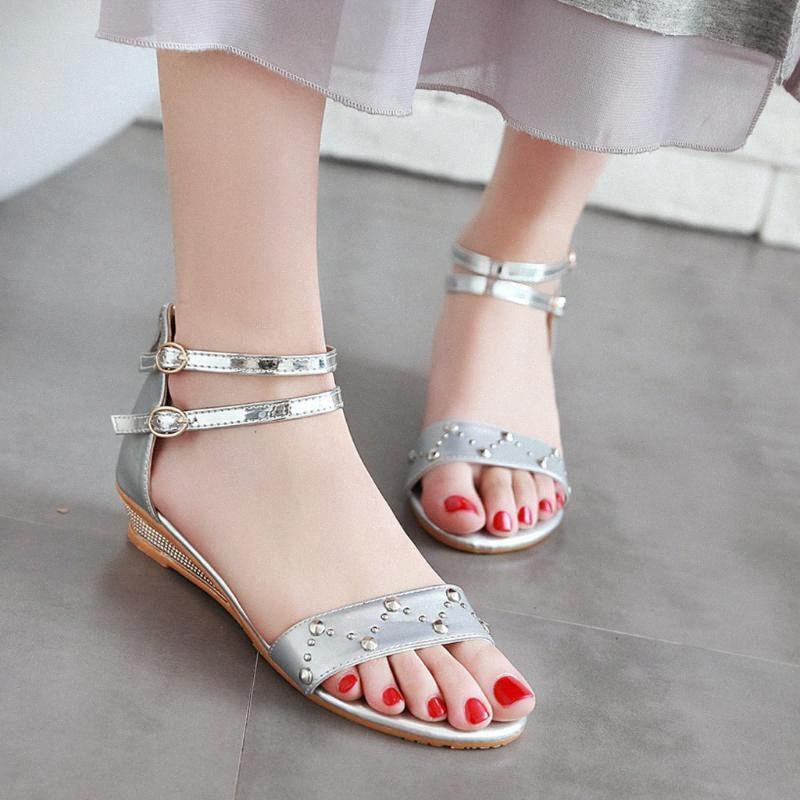 2020 Damenschuhe Damenmode Peep öffnen Toed Knöchel Flache Sandalen Roman Schuh-Frauen-Strand-Sommer-Sandalen Mujer # g4 A96b #