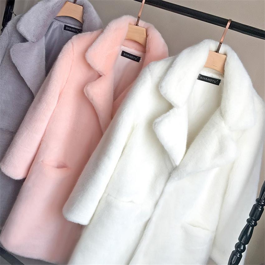 Bella Philosophy Women Mink Faux Fur Coat Solid Female Turn Down Collar Winter Warm Fake Fur Lady Coat Casual Jacket T200915