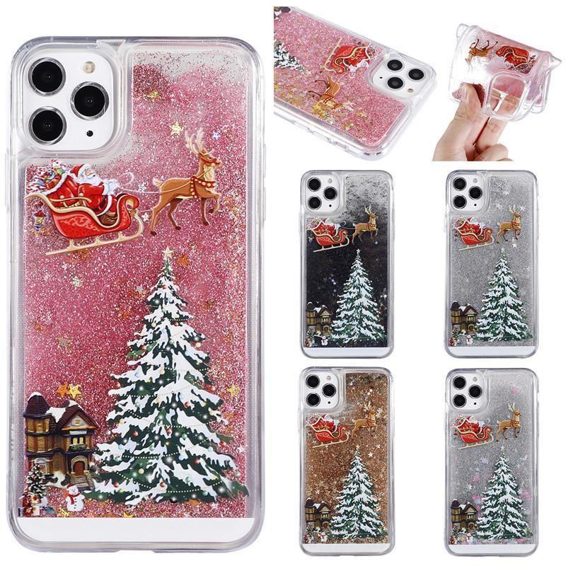 Weihnachtsmann-Weihnachtsbaum-Fall für Iphone11 Pro Max Xr 6 7 8 Shiny Sand-Kasten für Samsung note10 S10 S9