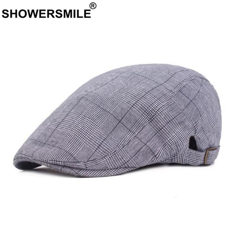 SHOWERSMILE chapeau plat Beret hommes bleu Houndstooth Duckbill Ivy Cap British Vintage Coton Eté réglable Casual Male Gatsby Hat