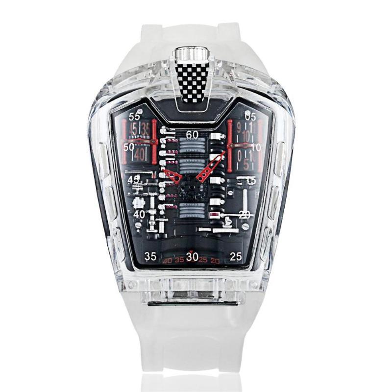المعصم الرجال الأزياء الاتجاه شخصية الكلاسيكية كوارتز ساعة الفاخرة سباق الحرة سيليكون حزام ساعة شفافة movemen relogio