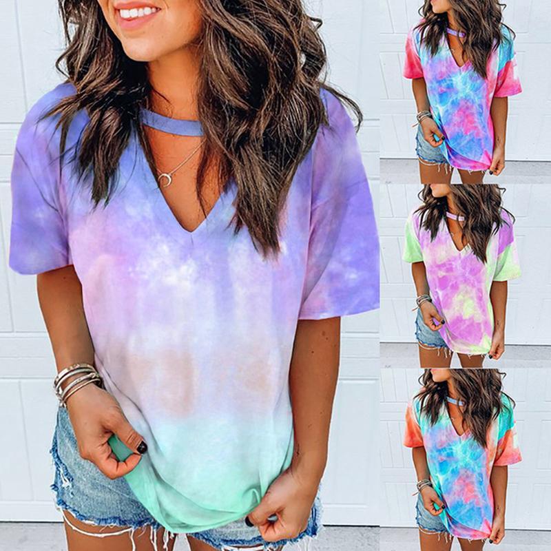Сексуальные женщины Tie Dye печати Толстовки Top печати Короткие футболки Короткие Длинные рукава T-Шир Женщины Streetwear Летняя одежда