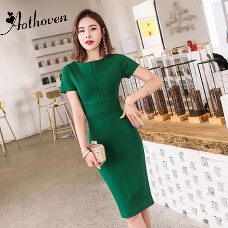 Günlük Elbiseler 2021 Yaz Seksi Parti Bodycon Kalem Ofis Kadınlar Kısa Kollu O Boyun Zarif Vestidos Vintage Bandaj Elbise