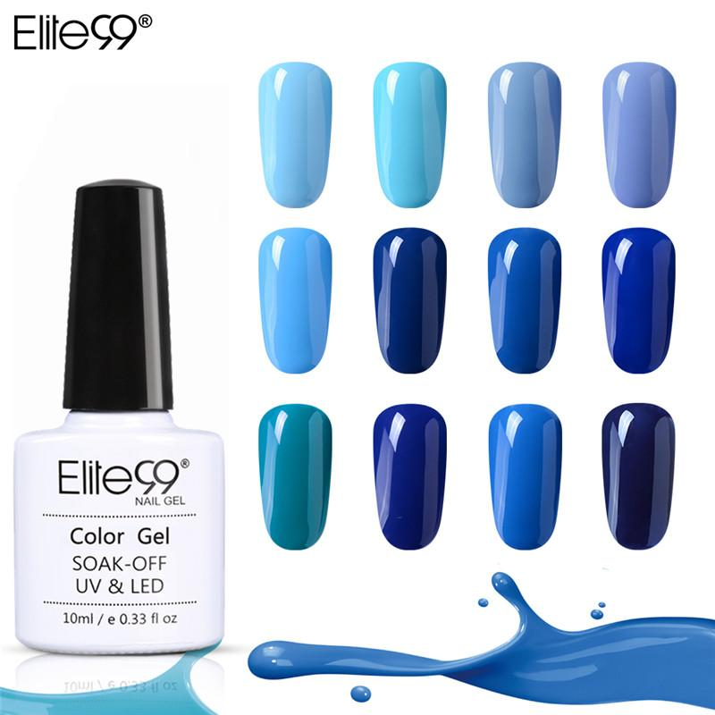 Elite99 10ml Gel Azul Nail Polish Top UV Led Gel Nail Art Verniz híbrido Soak Off Lacquer Sorte Pintura polonesa Gellak