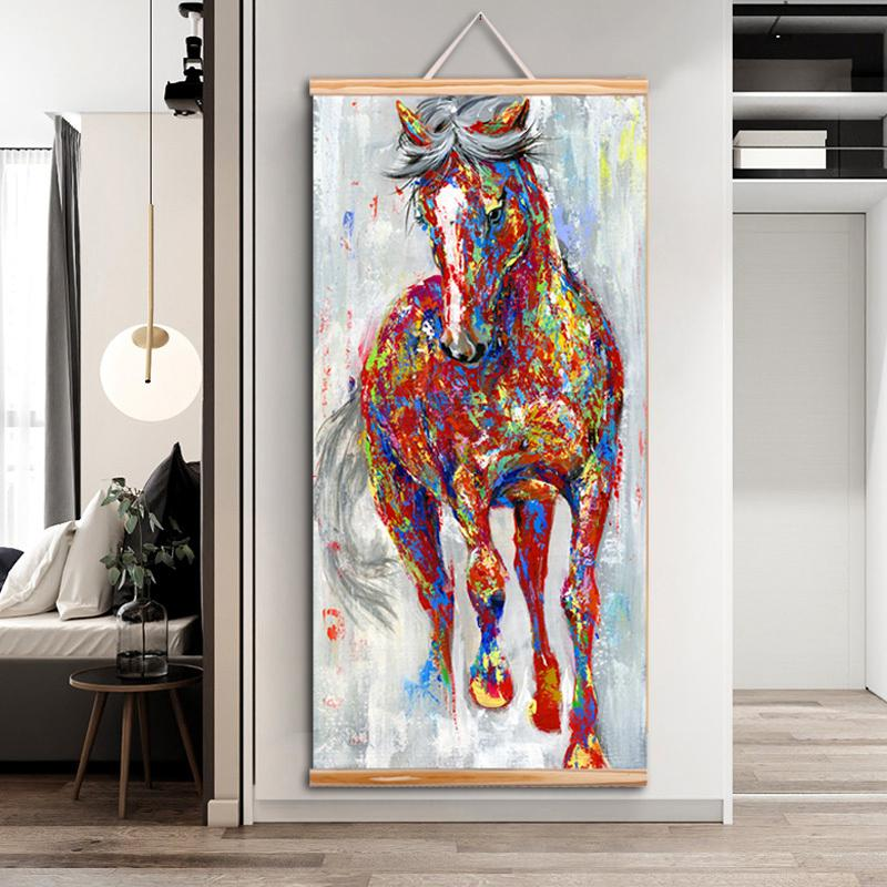 WANGART frame painting Larger Original Running Horse Oil Paintings Wall Art Wooden Scroll Wall Picture For Living Room