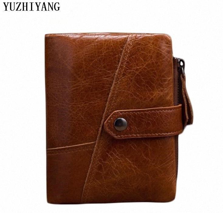 monedero del hombre marrón auténtica moda de alta calidad hombre de cera de petróleo cartera de cuero con clip para billetes pequeños mens billetera corta GMoh #