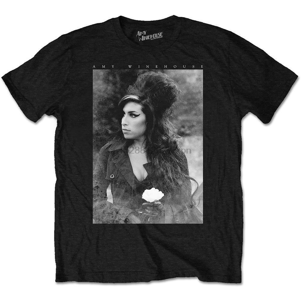 Flor Amy Winehouse Hombres Camiseta del retrato Negro