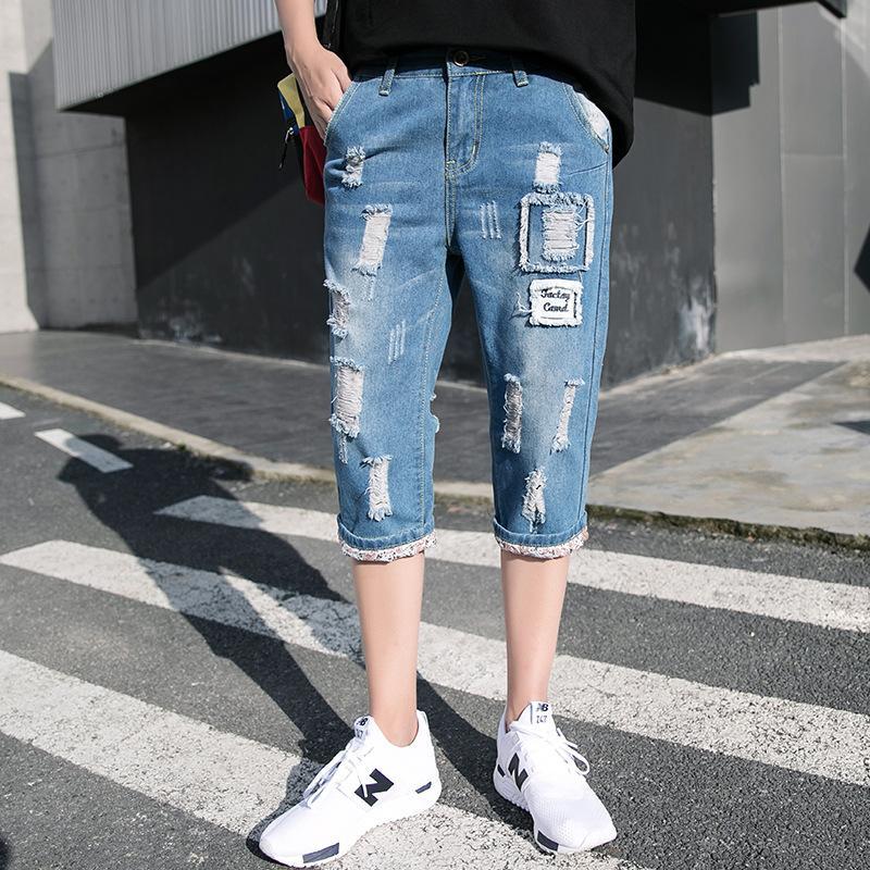 Delikler Kovboy Capri Pantolon İnce Genç Kore tarzı Slim Fit Aplike Capri Pantolon Moda ile 2020 Yaz Yeni Stil Erkekler