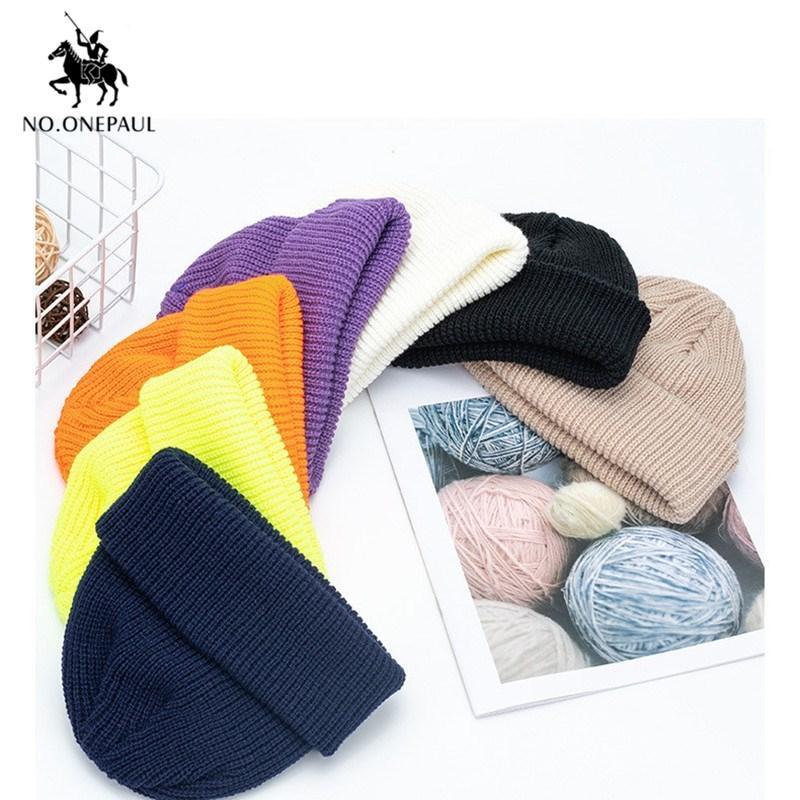 NO.ONEPAUL Hat унисекс осень и зима новая улицы тенденция ретро сплошного цвет дыни ушанки вязаный шерстяной