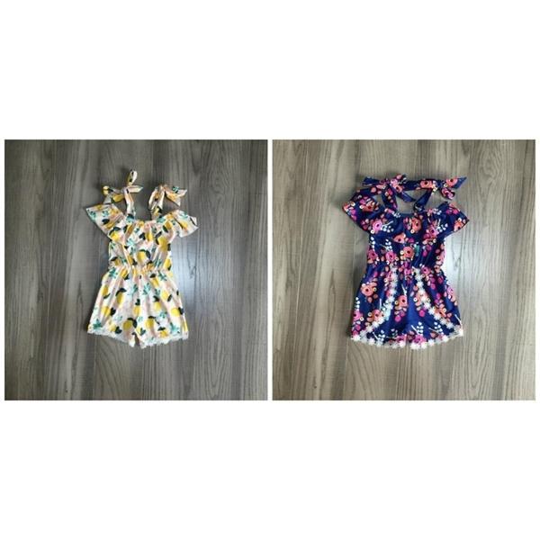 estate delle neonate complessivi vestiti dei bambini pom-pom maniche cravatta pagliaccetto boutique limone floreale volant pantaloncini di seta del latte tuta 0926