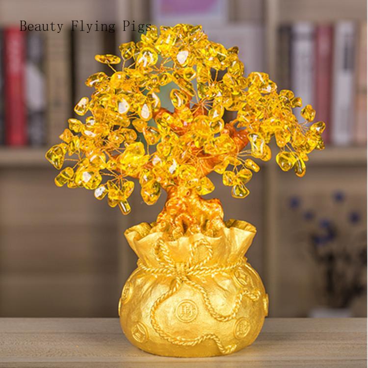 De gama alta de cristal dorado tesoro árbol suerte auspicioso ilusión decoración de la oficina en casa decoración de la riqueza apertura estatua mejor regalo
