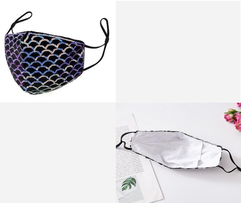 Frauen Charme Gesichtsmasken Mode Blingbling Pailletten Designer Luxus Maske Waschbare Wiederverwendbare Erwachsene Masken Schutzschöpfungsmaske