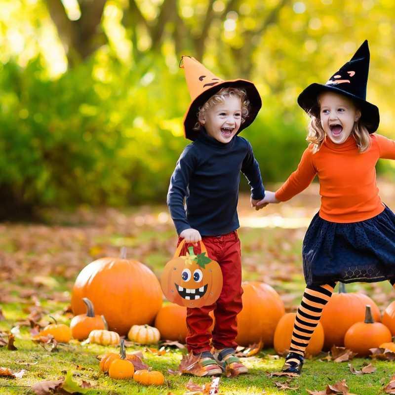 2adet Cadılar Bayramı Şeker Kağıt Çanta Kurabiye Torbalar Çocuklar Şeker Kaplar (Gösterildi)