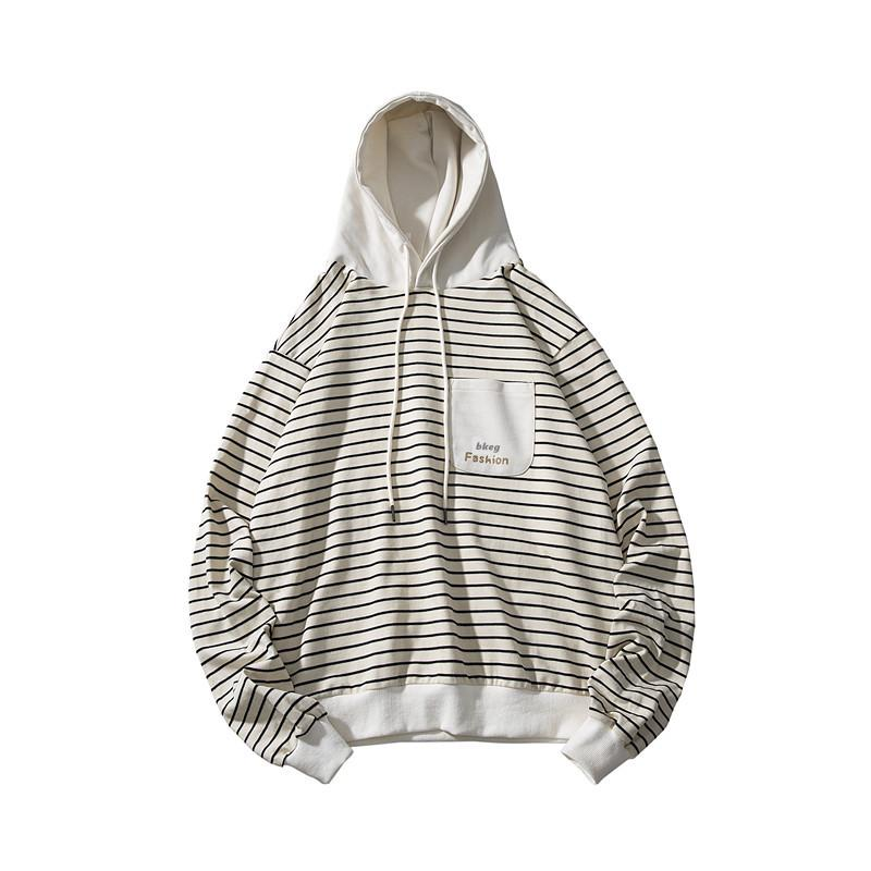 Autumn 2020 New Stripe Hip Hop Hoodie Sweatshirt Men Streetwear Polyester Hooded Fashion Casual Loose Men's Winter Men Clothing T200917