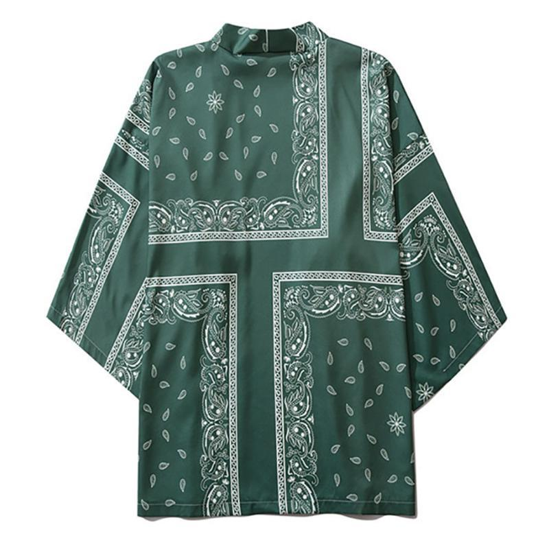Kimono Green Jackets Paisley Printed 2020 hommes Harajuku Streetwear Casual robe mince Japan Style desserrées Taille Chemises