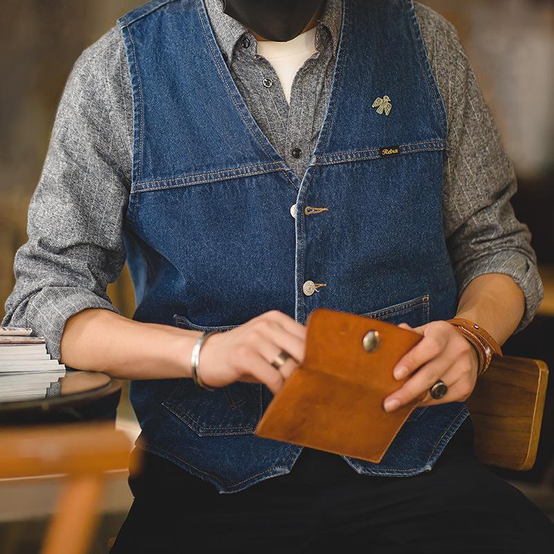 hombres chaleco estilo Safari casual chaleco de mezclilla azul de negocios hombres chaleco chalecos azules ropa de trabajo de los hombres