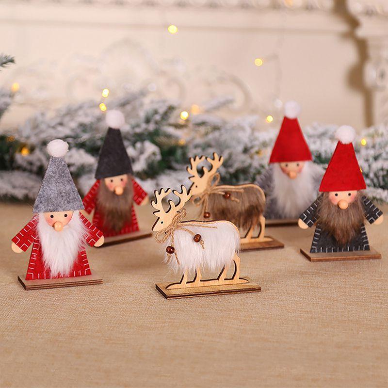Noel Ahşap Meslekler süsleri Noel ağacı Dekoratif DIY Noel Baba Noel Tatili Parti Dekoru Çocuk Hediye el sanatları
