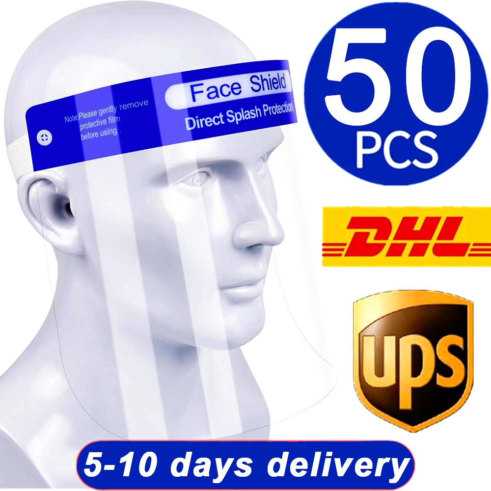 Free DHL 50 pcsPET Transparent Protective Mask Anti-Fog Splash Oil-Splash Proof Full Face Mask Protect Shield Anti-Shock Safety Mask