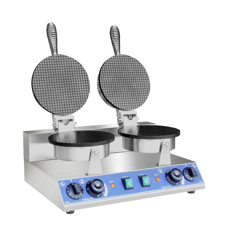 Comercial eléctrica del cono de helado fabricante antiadherente Cono de la galleta máquina de aperitivos Cono Hierro Wafflera cabeza del doble de la torta del horno